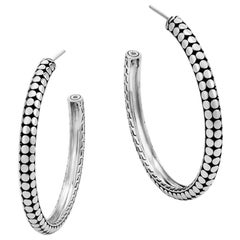 John Hardy Women's Dot Silver Small Hoop Earrings, EB3907