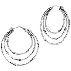 John Hardy Women's Bamboo Silver Medium Side Facing Orbital Hoop Earrings