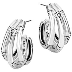 John Hardy Women's Bamboo Silver Small J Hoop Earrings, EB5759