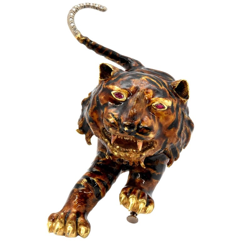 18 Karat Yellow Gold, Diamond and Ruby Tiger Pin/Brooch