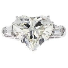Certified 5.02 Carat Heart Shaped Diamond Platinum Engagement Ring