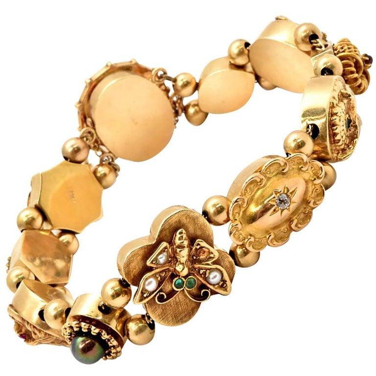 Vintage 14 Karat Yellow Gold Slide Charm Bracelet