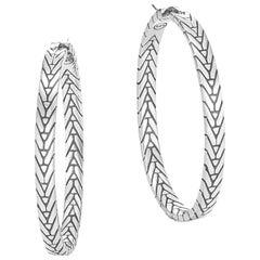 John Hardy Women's Modern Chain Silver Medium Hoop Earrings