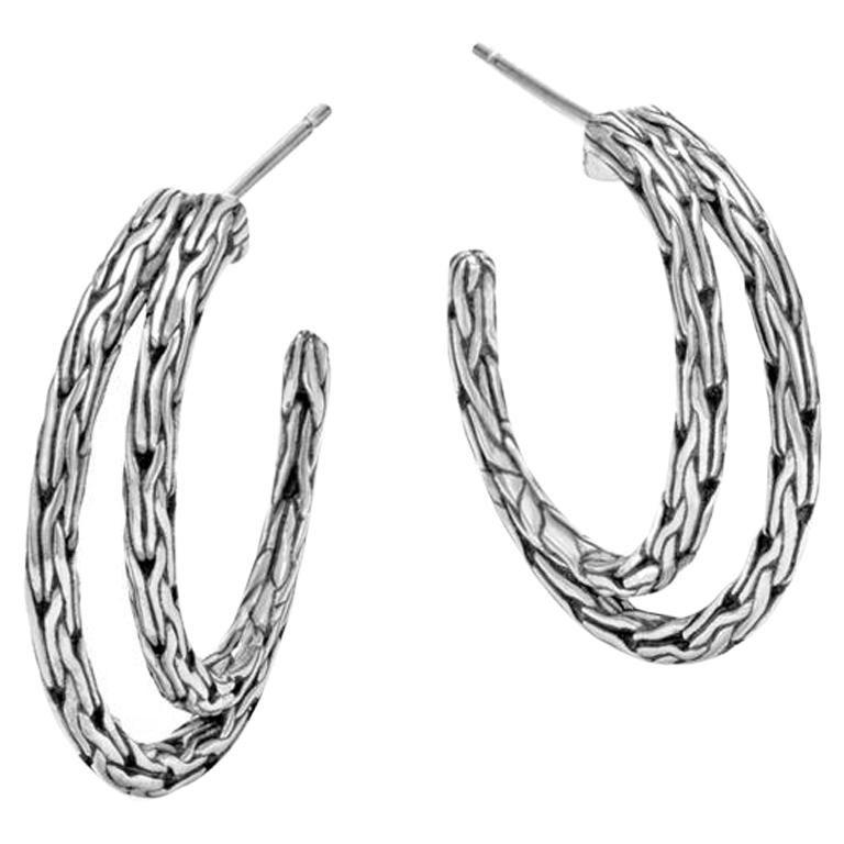 John Hardy Women's Classic Chain Silver Small Hoop Earrings