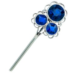 Sapphire and Platinum Brooch Pin