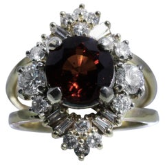 Diamond Garnet Ring in 18K Yellow Gold