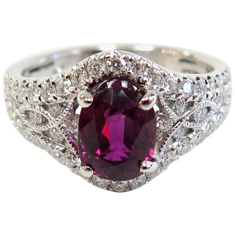 Ruby and Diamond Ring / 18 Karat White Gold