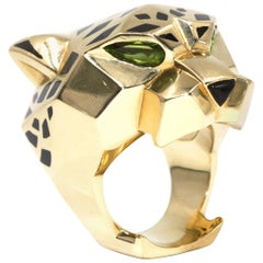 Cartier Panthère De Ring, 18 Karat Yellow Gold, Lacquer, Peridots, Onyx