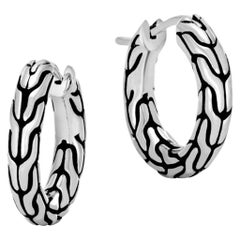 John Hardy Women's Classic Chain Silver Small Hoop Earrings with Full Closure