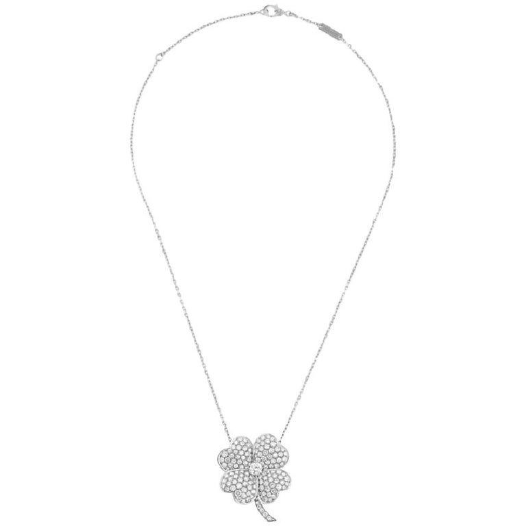Van Cleef & Arpels Cosmos Clip Pendant, Large Model White Gold, Diamond