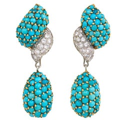 1960s Pavé Turquoise and Diamond Pendant Earrings
