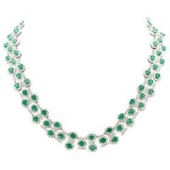 26.50 Carat Emerald Diamond Necklace