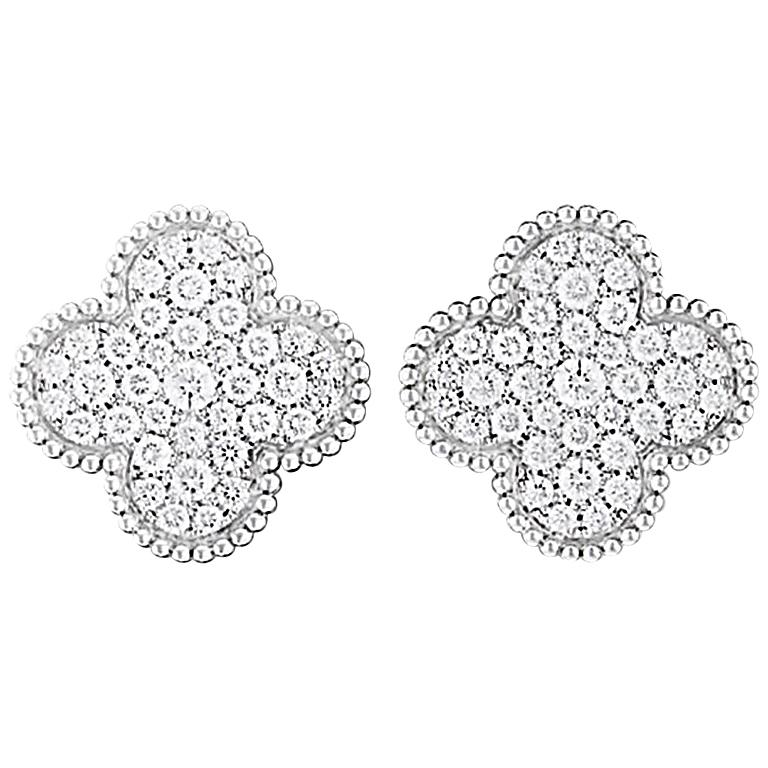 Van Cleef & Arpels Magic Alhambra Earrings White Gold, Diamond