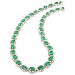 18.65 Carat Emerald Diamond Necklace