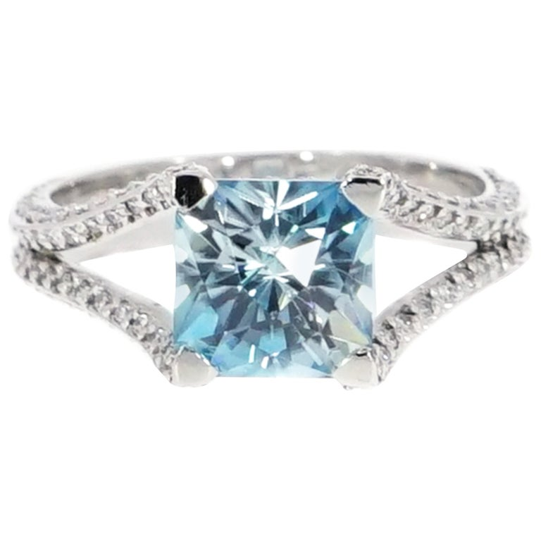 Blue Zircon Platinum Ring