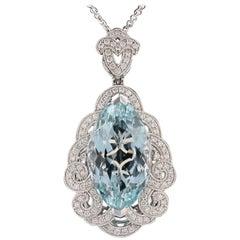 GIA Certified 23.14 Carat Aquamarine Diamond Pendant Necklace