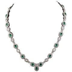 8.01 Carat Emerald Diamond Necklace