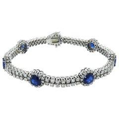 18 Karat White Gold Sapphire and Diamond Bracelet