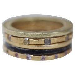 Bridal Wedding or Stacked Band Ring in 18K, 22K Gold, Oxidized Silver Stack #5
