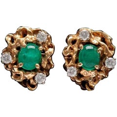 Freeform Emerald Diamond 14 Karat Gold Earrings