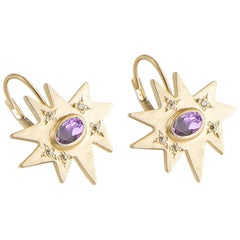 Emily Kuvin Gold and Amethyst Organic Star Lever Back Earrings