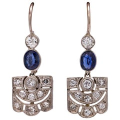 Vintage Art Deco Platinum Diamond Sapphire Dangle Earrings 0.60 Carat