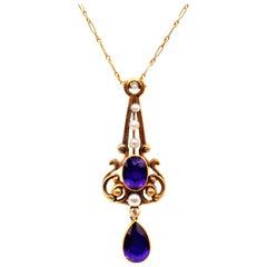 Art Nouveau Amethyst Pearl Gold Pendant