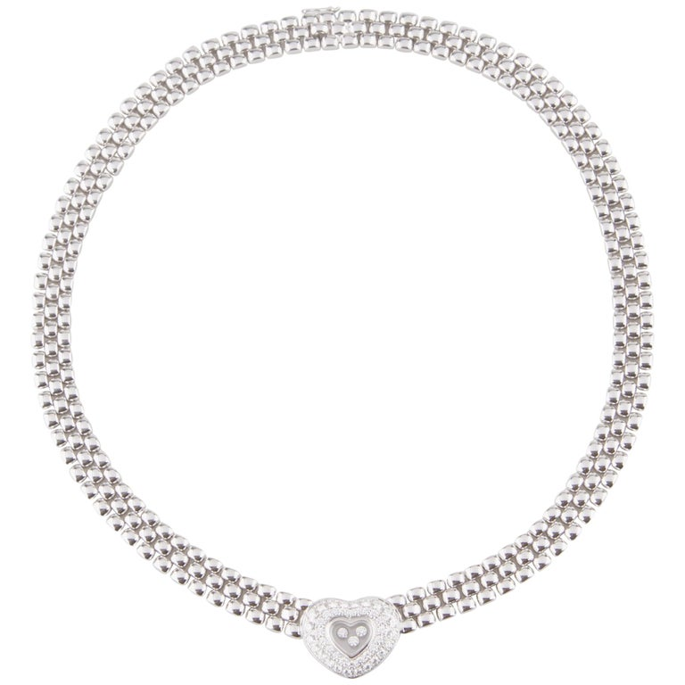 Chopard Happy Diamond 18 Karat White Gold Heart Necklace Original Box Included