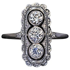 Antique Edwardian Three-Stone Diamond Platinum Engagement Ring