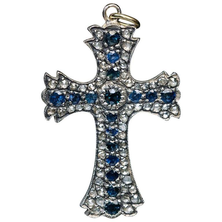 Antique 19th Century Sapphire Diamond Cross Pendant