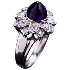 Midcentury French Cabochon Amethyst Diamond Platinum Ring
