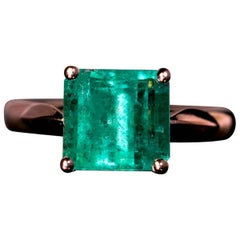 Midcentury 2.76 Carat Emerald Rose Gold Engagement Ring