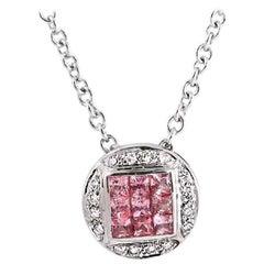 0.68 Carat Natural Sapphire 0.10 Carat Diamonds 14 Karat Gold Round Necklace