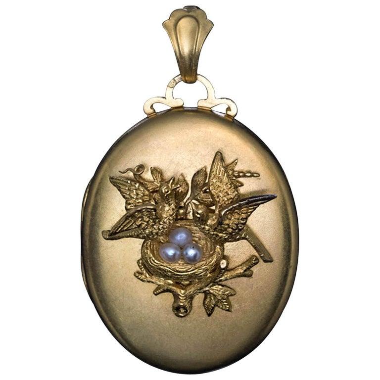 Antique Victorian Gold Pearl Locket Pendant
