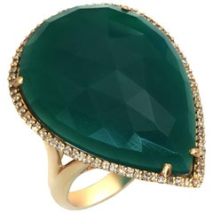 Fancy Sliced Green Agate and Diamonds 14 Karat Yellow Gold Ring