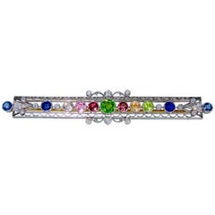 Belle Epoque Demantoid Garnet, Multi-Color Sapphire and Diamond Brooch