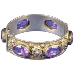 Antique Victorian Amethyst Bangle Gold Gilt, circa 1900