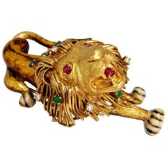 .50 Carat Diamonds Royal Lion Monarch Brooch Pin 18 Karat 3D Best