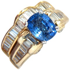 GIA Certified 4.70 Carat Natural No Heat Sapphire Diamond Ring and Band Unheated