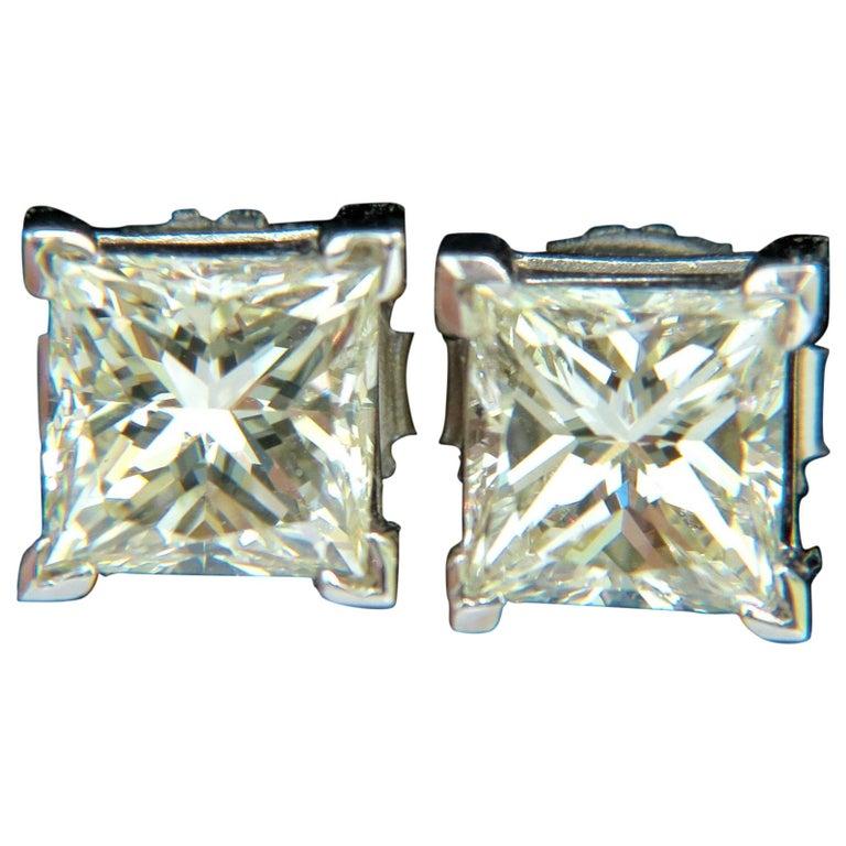 2.00 Carat Natural Princess Cut Diamond Stud Earrings J/SI-1 14 Karat
