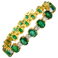 18ct bright forest vivid green natural emerald diamonds tennis bracelet 14kt