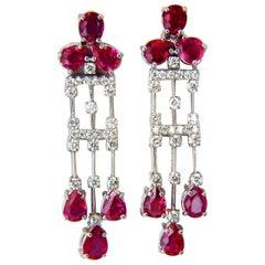 9.46 Carat Natural No Heat Ruby Diamonds Earrings Regency Revival Dangle