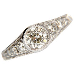 1.85 Carat Natural European Cut Flush Mount Diamond Ring 14 Karat I/VS