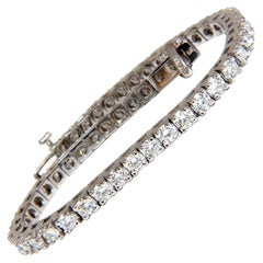 6.45 Carat Natural Diamonds Tennis Bracelet 14 Karat F/G