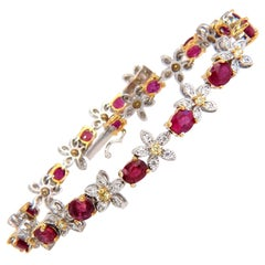 7.27 Carat Red Natural Ruby Diamonds Flower Cluster Tennis Bracelet 18 Karat