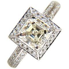 2.20 Carat Asscher Cut Diamond Ring Halo Knife Edge 14 Karat Best