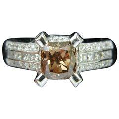 GIA 2.76 Carat Natural Fancy Orange Brown Diamond Ring G/VS 14 Karat