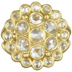 Faye Kim 18 Karat Green Gold Rose Cut Diamond Dome Ring