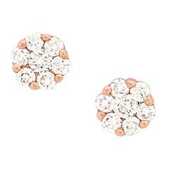 14 Karat Rose Gold Illusion Set Diamond Stud Earrings .50 Carat SI1-G/H