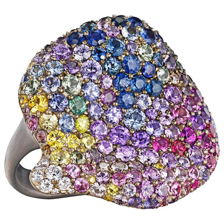 Naomi Sarna Multicolored Sapphire Diamond Gold Spring Petal Ring